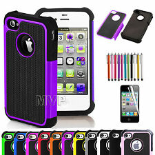 New Hybrid Rugged Rubber Matte Hard Case Cover for iPhone 4 4S 4G + St