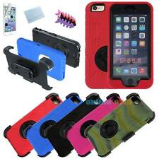 Heavy Duty Belt Clip + Holster Rubber Hard Case Cover For Apple iPhone