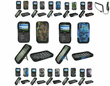 Car Charger+T-Stand Hybrid Hard Case Cover For Samsung SGH-S390G TracFone Phone