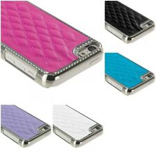 For Apple iPhone 5C Metal Quilted Leather Soft Chrome Luxury Hard Case