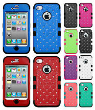 For Apple iPhone 4 4S HYBRID IMPACT TUFF Diamond Case Phone Cover Accessory