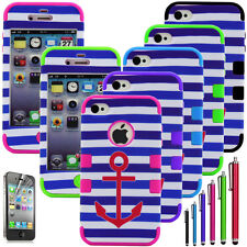 Shockproof Dirt Dust Proof Anchor Hard Matte Case Cover For iPhone 4 4