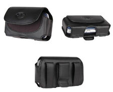 Black Leather Belt Side Case Pouch Clip Loops For HTC Cellphones All Carriers