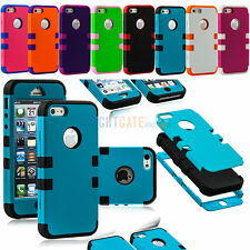 Triple Layer Hybrid High Impact Silicone Rubber Case Cover For iPhone 5 5G 5S