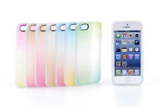 Rainbow Color TPU Back Matte Soft Case Cover For Apple iPhone 5 5s + protector