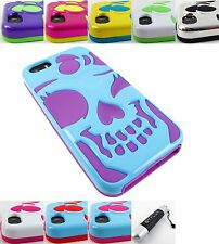 FOR APPLE IPHONE 5 5S 5C CUTE ADORABLE SKULL HYBRID SKIN CASE COVER+ST