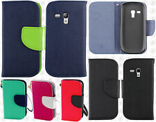 AT&T Samsung Galaxy S3 MINI Premium Leather 2 Tone Wallet Case Pouch F