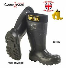 Camminare Full Safety Lightweight Wellies Wellingtons EVA Boots Master Black