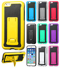 For Apple iPhone 6 4.7 KICKSTAND HYBRID Leather Backing Case Cover +Screen Guard