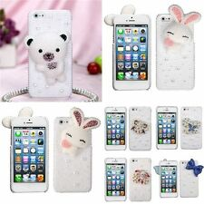 3D Diamond Bling Cute Rabbit Butterfly Hard Case Cover Skin For iPhone 5 5S