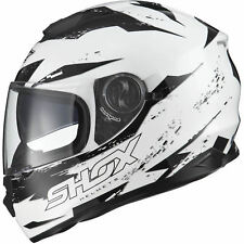 Shox Assault Trigger White Black Motorcycle Helmet Scooter Crash Lid Protection