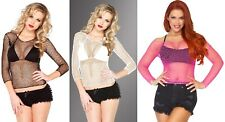 Lycra Net Long Sleeves T-Shirt Top Leg Avenue 8278 fishnet Erotic Halloween