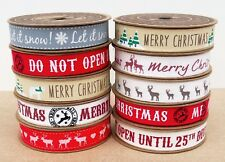 100% Cotton Christmas Ribbon Vintage  Fabric Tape Trim Lace Craft Gift Rolls