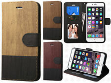 iPhone 6 Plus 5.5  Wood Grain Wallet Case Pouch Flip STAND Cover +Screen Guard