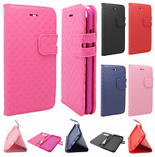 Apple iPhone 6 4.7 Leather Wallet Case Pouch Checkered Flip Cover + Screen Guard