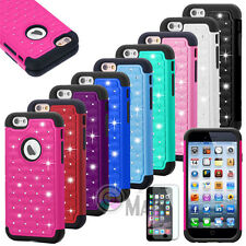 Hybrid Rugged Rubber Bling Crystal Hard Case Cover for iPhone 6s, iPho