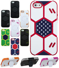 For Apple iPhone 5 , 5S GOAL KICK STAND Hard Case Silicone Cover Footb