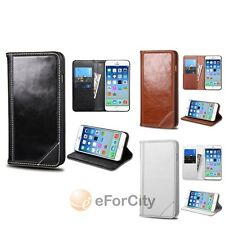 "For iPhone 6 4.7"" Genuine Leather Flip Wallet Credit Card Case Cover w"