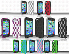 For Apple iPhone 5C HYBRID CHECKER Impact Resistance Case Cover +Screen Guard