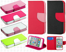 Apple iPhone 4 4s Premium Leather 2 Tone Wallet Case Pouch Flip Cover Accessory