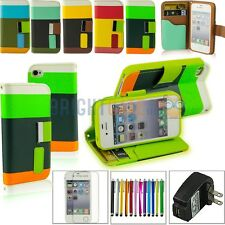 Wallet Holder PU Leather Pouch Flip Stand  for iPhone 4 4S Accessory w