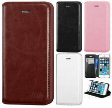 For Apple iPhone 5 5S Premium Wallet Case Pouch Flap STAND Cover + Screen Guard
