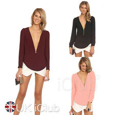New Sexy Womens Casual Loose Chiffon Zipper V-Neck Tops Long Sleeve Shirt Blouse
