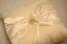 WEDDING RING CUSHION PILLOW 19x19cm WITH SATIN RIBBON & CRYSTAL WHITE & IVORY