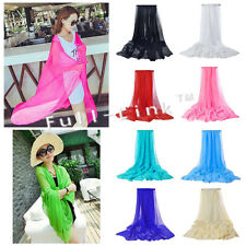 Women Soft Plain Chiffon Scarf Light Neck Hijab Shawl Wrap 140*90 UK SELLER