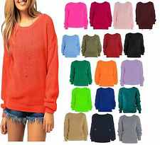 A74 Ladies Womens Oversized Baggy Knitted Jumper Chunky Sweater Plus Size 8-18