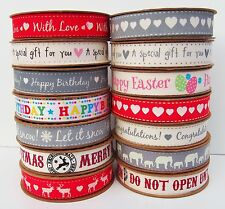 100% Cotton Fabric Christmas Ribbon Vintage Tape Trim Lace Craft Gift Xmas