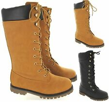 WOMENS LADIES ARMY LACE UP FLAT COMBAT BIKER WIDE CALF KNEE HIGH WINTER BOOTS SZ