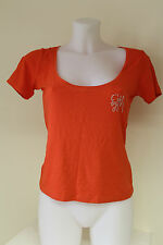 GUESS Womens orange fitted short sleeve top t-shirt with logo size small UL2C22