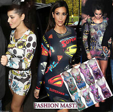 WOMENS NEW LADIES CELEBS KIM CHERYL COMIC SUPERMAN BATMAN BODYCON TUNIC DRESS