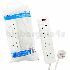 4 WAY GANG 1M 2M 5M METER MAINS EXTENSION LEAD CABLE PLUG SOCKET UK BRAND NEW