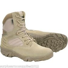 MILITARY TACTICAL PRO BOOTS ZIP UP BEIGE SIZE 7-12 MENS BRITISH ARMY DESERT SAND