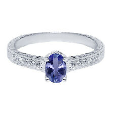 1.15 Ct Oval Blue Tanzanite White Topaz 925 Sterling Silver Engagement Ring