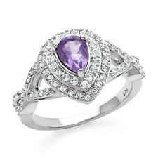 1.50 Carat Genuine Amethyst & White Topaz Ring in Sterling Silver