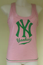 NY Yankees women's cotton crew neck vest & shorts (sold separately) pink & blue