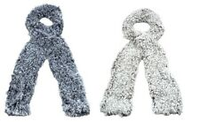 LADIES BLACK OR WHITE POLYESTER FAUX FUR SHEEP SCARVES - 91209 CC