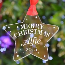 Personalised Merry Christmas Tree Decoration Bauble Gifts Present Baby First C17