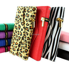 For Apple iPhone 6 6S Plus Zipper Flip Wallet PU Leather Hybrid Case Pouch
