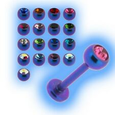 Titanium Jewelled Labret 1.2mm 16g 2 Tone Purple Blue Choose Gem Size 6mm - 18mm