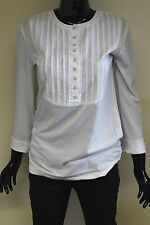 Carling Paris womens long sleeve cotton button neck bib detail t-shirt 32037