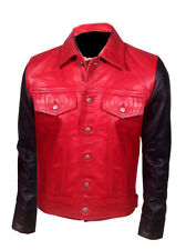 MENS BLACK & RED  VINTAGE BOMBER SLIM FIT REAL LEATHER JACKET- JUSTIN BIEBER