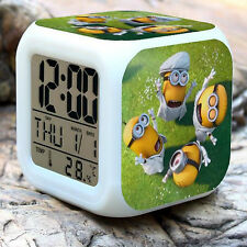 Minions 7 Color Changing LED Digital Alarm Clocks Despicable Me2 For Kids Gifts