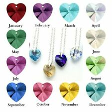 Sterling Silver Birthstone Crystal Heart Necklace made with Swarovski Elements