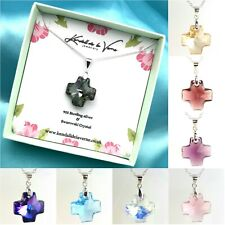 Sterling Silver Necklace Made With Swarovski Elements Crystal Cross