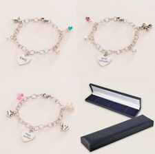 Birthstone Bracelets with Engraving for Girls, Personalised Jewellery Gifts.