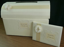 Post Box, Guest Book, Memory Box, Satin Ribbon with Shabby Chic Flower, Wedding